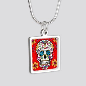 Sugar Skull RED Silver Square Necklace