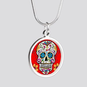 Sugar Skull RED Silver Round Necklace