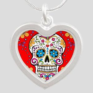 Sugar Skull RED Silver Heart Necklace