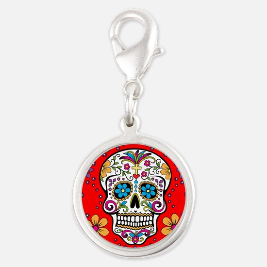 Sugar Skull RED Silver Round Charm