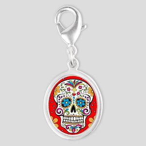 Sugar Skull RED Silver Oval Charm