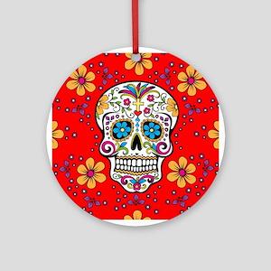 Sugar Skull RED Ornament (Round)