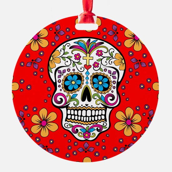 Sugar Skull RED Ornament