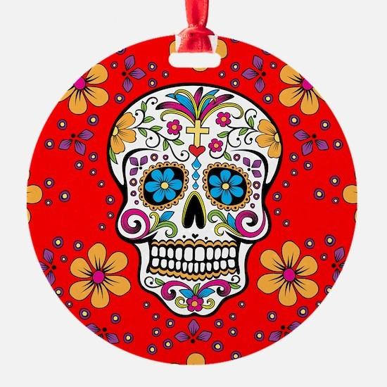 Sugar Skull RED Round Ornament