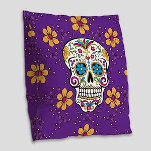 Sugar Skull PURPLE Burlap Throw Pillow