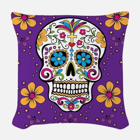 Sugar Skull PURPLE Woven Throw Pillow