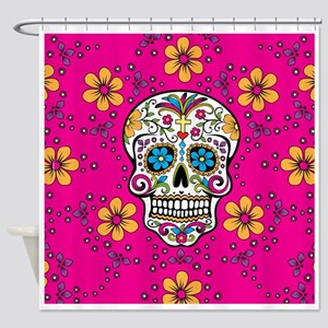 Dead Sugar Skull, Halloween Shower Curtain