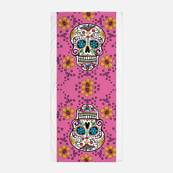 Dead Sugar Skull, Halloween Beach Towel