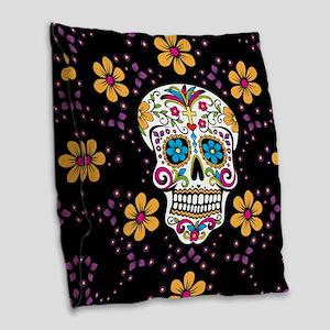 Dead Sugar Skull, Halloween Burlap Throw Pillow