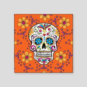 "Dead Sugar Skull, Halloween Square Sticker 3"" x 3"""