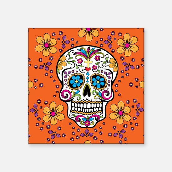 "Dead Sugar Skull, Halloween Square Sticker 3"" x 3"""