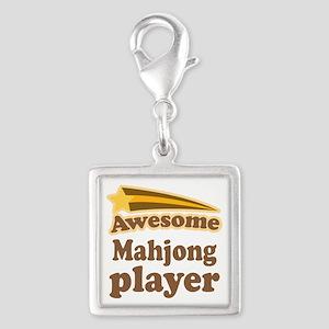 Mahjong Player Silver Square Charm
