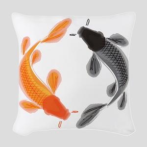 Japanese Koi Woven Throw Pillow
