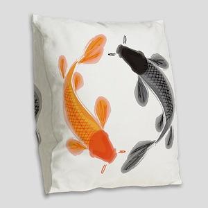 Japanese Koi Burlap Throw Pillow