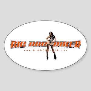 Big Dog Biker Oval Sticker
