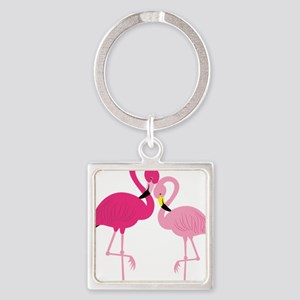 Pink Flamingo Square Keychain