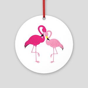 Pink Flamingo Round Ornament