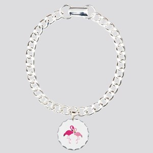 Pink Flamingo Charm Bracelet, One Charm