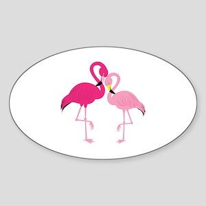 Pink Flamingo Sticker (Oval)