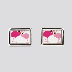 Pink Flamingo Rectangular Cufflinks