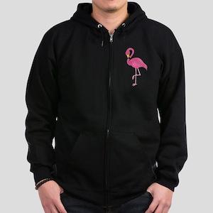 Pink Flamingo Zip Hoodie (dark)