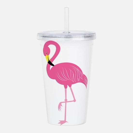 Pink Flamingo Acrylic Double-wall Tumbler
