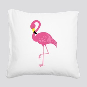 Pink Flamingo Square Canvas Pillow