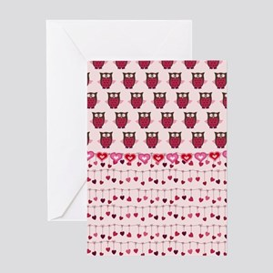 Valentine Owls and Hearts Greeting Cards