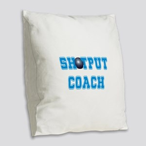 Shotput Coach Burlap Throw Pillow