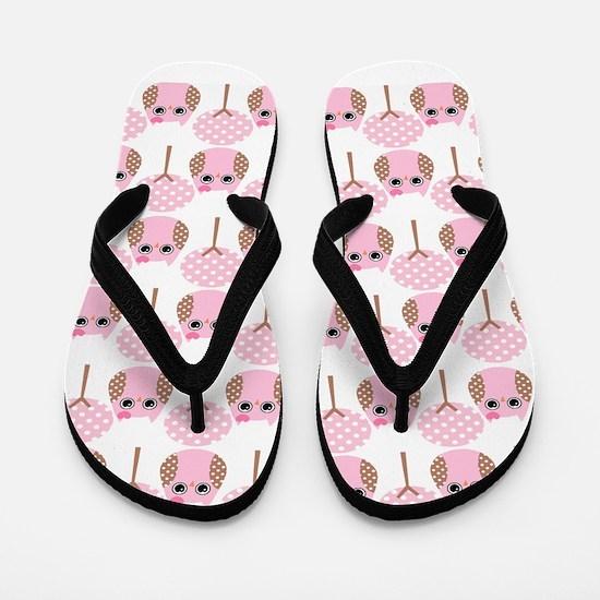 Pink Owls Flip Flops