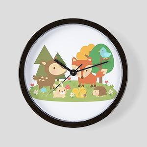 Cute Woodland Animal Theme For Kids Wall Clock
