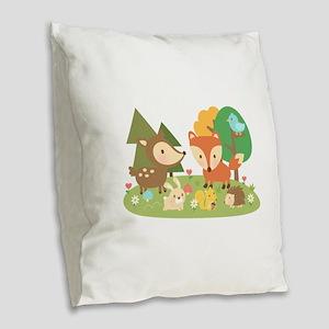Cute Woodland Animal Theme For Kids Burlap Throw P