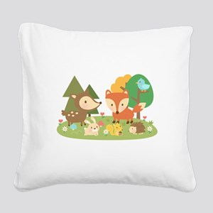 Cute Woodland Animal Theme For Kids Square Canvas
