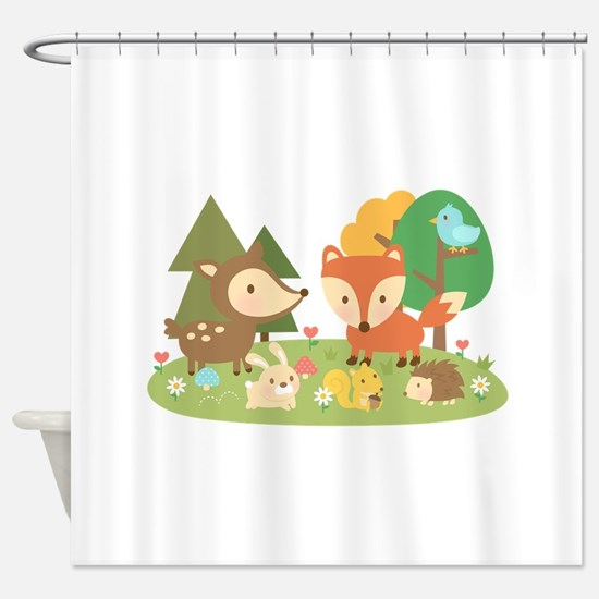 Cute Woodland Animal Theme For Kids Shower Curtain