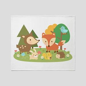 Cute Woodland Animal Theme For Kids Throw Blanket