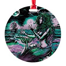 Mermaid Siren Atlantis Pearl Round Ornament