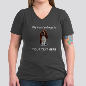 Personalized Basset Ho Women's V-Neck Dark T-Shirt
