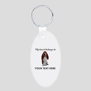 Personalized Basset Hound Aluminum Oval Keychain