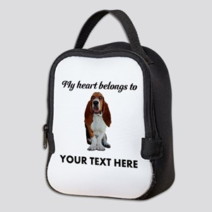 Personalized Basset Hound Neoprene Lunch Bag