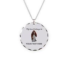 Personalized Basset Hound Necklace Circle Charm