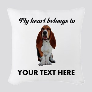 Personalized Basset Hound Woven Throw Pillow