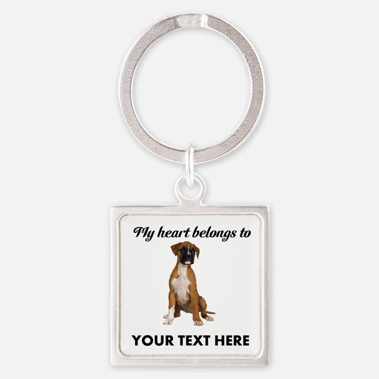 Personalized Boxer Dog Square Keychain