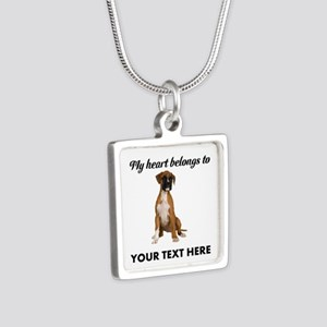 Personalized Boxer Dog Silver Square Necklace