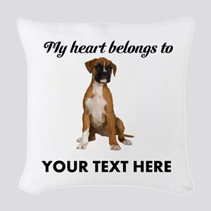 Personalized Boxer Dog Woven Throw Pillow