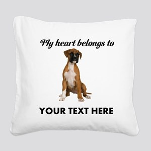 Personalized Boxer Dog Square Canvas Pillow