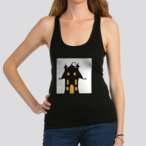 Yellow and Black Haunted House Racerback Tank Top