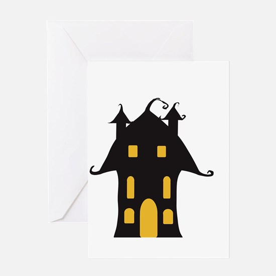 Yellow and Black Haunted House Greeting Cards