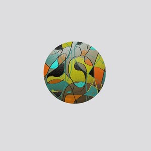 Abstract Art in Orange, Turquoise, Gol Mini Button