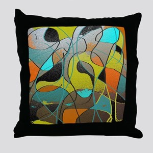 Abstract Art in Orange, Turquoise, Go Throw Pillow