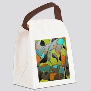 Abstract Art in Orange, Turquoise Canvas Lunch Bag